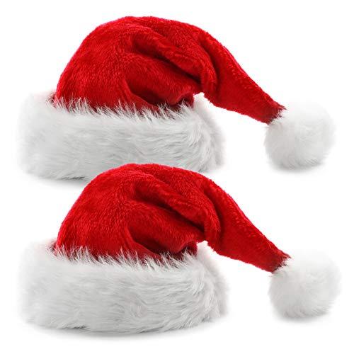 Yisscen Felpa Gorro de Santa, Sombrero de Papá Noel para Adultos Hombres Mujeres, para Decoración Navideña, Fiesta de cumpleaños, Fiesta de Navidad(2 Piezas)