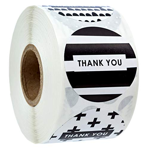 """1.5"""" Black and White Patterned Thank You Stickers / 8 Different Design Thank You Designs/ 500 Thank You Stickers Per Roll"""