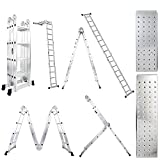 Luisladders 15.5 Feet Aluminum Multi-Purpose Extendable Ladder Folding Step Ladder Locking Hinges