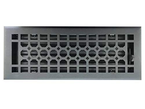 Empire Register Co, Textured Black Finish, Heavy Duty Floor Register, Honeycomb Design, in Cast Iron Look. Floor Vent Covers Size - 4 x 12 inch, Overall Face Size - 5.5 x 13.5 inch