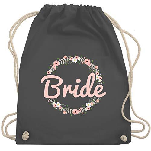 Shirtracer JGA Junggesellenabschied Frauen - Bride Blumenkranz rosé - Unisize - Dunkelgrau - team bride beutel - WM110 - Turnbeutel und Stoffbeutel aus Baumwolle