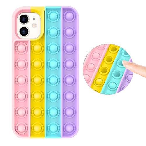Fidget Toy Case for iPhone 11, Stress Relief Anti-Anxiety Push Pop Bubble Silicone Rubber Protective Phone Case for Women, Girls & Kids, Rainbow