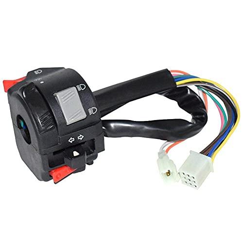 FANGFANG Want Want Lin 7/8'22mm Motorcycle Switch Motorbike Cuerno Señal de Giro de la lámpara de Niebla eléctrica Start Start Start Button Manillar Controller Interruptor (Color : BK)