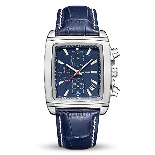 MEGIR Relojes para hombre con correa de piel, luminoso, rectangular, analógico, reloj de pulsera de cuarzo para hombre