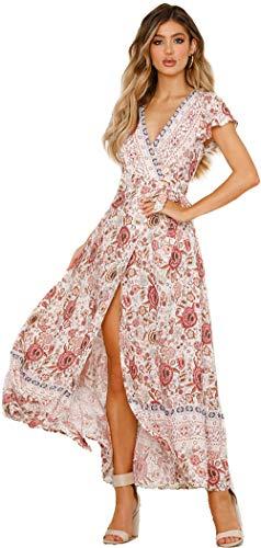 SEMIR Damen Vintage Kleider Boho Sommerkleid V-Ausschnitt Maxikleid Kurzarm Strandkleid Lang mit Schlitz Beige L