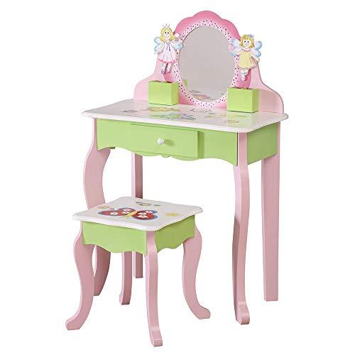 WODENY - Set da toeletta e sgabello, con cassettiera e sedia, accessori per il trucco, per bambini, con specchio e farfalle, colore: rosa e verde