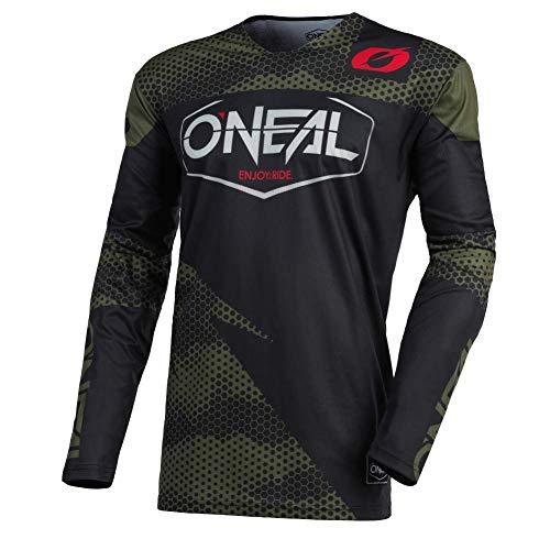 O'NEAL | Motocross-Trikot | Enduro Motorrad | Schnell trocknendes Performance-Material, kragenloses Design, Athletische Passform | Jersey Mayhem Covert | Erwachsene | Schwarz Grün | Größe M