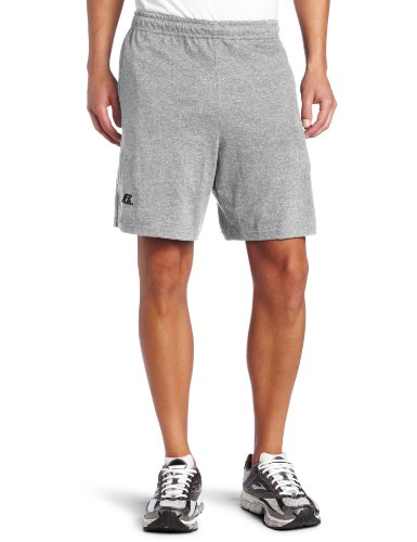 Russell Athletic Men's Cotton Baseline Short with Pockets, Graphite, 3X-Large