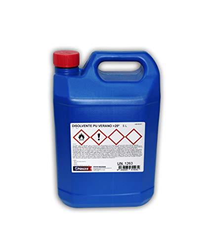 Disolvente Poliuretano ESPECIAL VERANO   Rendimiento óptimo en temperaturas superiores a 25ºC   Limpieza de herramientas y pinturas transparentes y pigmentadas de poliuretano   5 Litros plástico