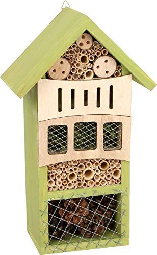 Hôtel à insectes Verdure en bois avec dispositif de suspension pratique, aide d'hivernation et couvée pour insectes, décoration jardin