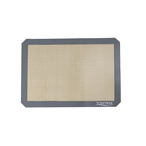 Yontree Silicone Baking Mat Non Stick Cookie Sheets -1 x Quarter Size (11.5x8.5 inches) Grey Edge Brown Base by Yontree