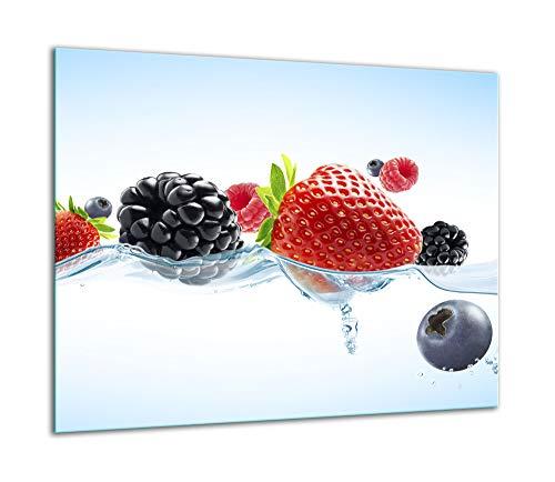 TMK - Placa protectora de vitrocerámica 60 x 52 cm 1 pieza cocina eléctrica universal para inducción protección contra salpicaduras tabla de cortar de vidrio templado como decoración Frutas