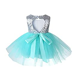 Green02 Tulle Tutu Baby Dress With Sequins