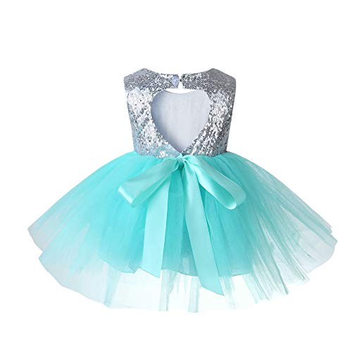 Sleeveless Princess Ruffle Summer Sequin Girl Dress Formal Bridesmaid Christmas Easter Evening Prom Dresses for Girls Tutu Tulle Baby Dress 4 3T Aquamarine