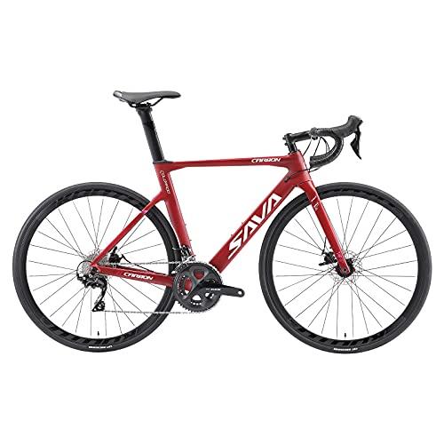 SAVADECK Bicicletas de Carretera, Bicicletas de Carbono de 700C, con Freno de Disco Shimano 105 R7000 22