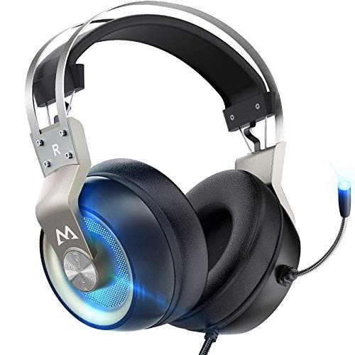 Mpow Gaming Headset Xbox One Headset with 7.1 Surround Sound, PC PS4 Headset with Noise Canceling Mic & LED Light, Compatible with PC, PS4, PS5, Switch, Xbox One Controller (EG3 Pro)