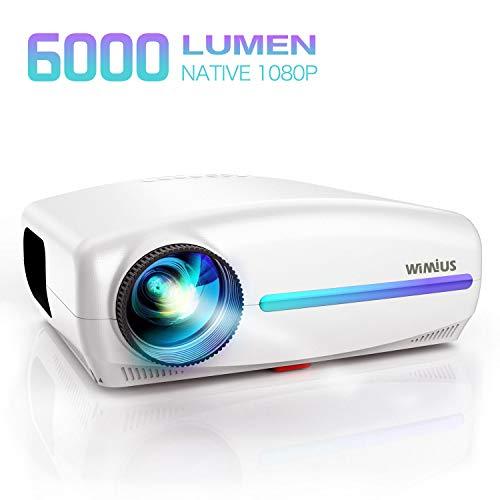 Videoproiettore,WiMiUS 6000 Lumen Proiettore Nativa 1920 x 1080P LED Full HD Supporto 4K Videoproiettore 4D Keystone Correzione ±50°Per Home Theater,PS4,Presentazione PPT,Con VGA HDMI AV USB