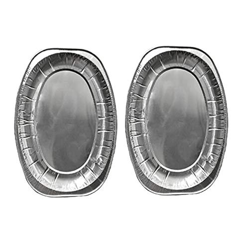 PPuujia Bandeja de aluminio para servir platos ovalados desechables, bandeja de papel de aluminio, vajilla para catering, barbacoas, banquetes (color: plata, tamaño: L)