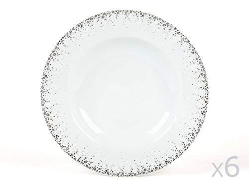 Table Passion - Assiettes creuse Borealis gris 20cm (Lot de 6)