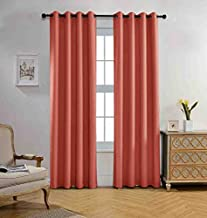 Miuco Blackout Curtains Room Darkening Curtains Textured Grommet Panels for Living Room 2 Panels 52x84 Inch Long Rust