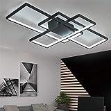 Lámpara Techo Salon Dormitorios Modernas Square Diseño Plafón LED Regulable con Control Remoto Para Comedor Habitacion Mesa Comedor Corredor Pantalla de Acrílico Decoracion Lamparas L80*W45cm Negro