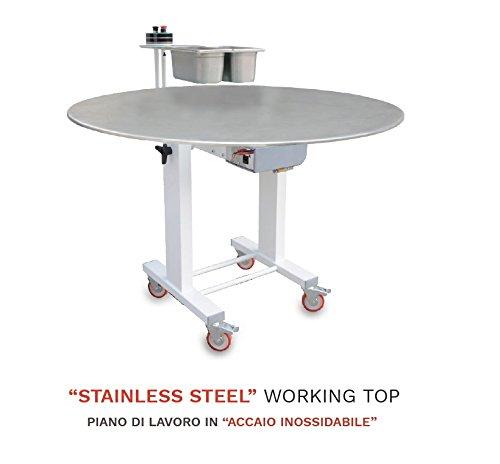 Piano di lavoro in acciaio a rotazione controllata diametro 130 cm che migliora il tuo modo di lavorare, per pizzaioli e panificatori