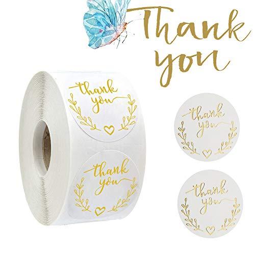 500 piezas Thank You Pegatinas,Gracias Rollo de Pegatinas, Redondas Gracias Pegatinas para regalos, tarjetas, bodas, bricolaje sobre sellado de caramelos y galletas (blanco)