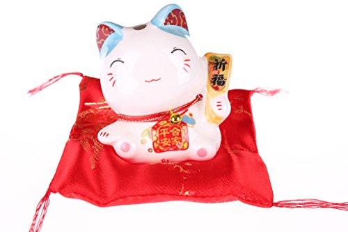 Gifts Of The Orient Maneki Neko porcelana figura decorativa diseño de gato japonés llamando–Caja de dinero y amuleto, porcelana, Blue Ear