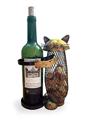 Wine Cork Holder and Bottle Rack! A decorative wine cork holder wine barrel in the shape of a Cute Metal Cat. Great for wine corks of all sizes!
