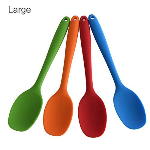 Quitd 4 cucharas de silicona grandes y pequeñas cucharas de sopa con mango largo resistente a altas temperaturas, herramienta de cocina para hornear tartas, cuchara raspadora