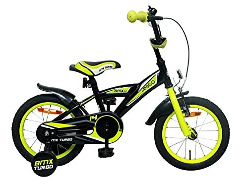 Amigo BMX Turbo - Bicicletta per bambini 14 pollici - Per Bambino di 3-4 Anni - Freno a mano, Freno a contropedale, Campanello per Bicicletta e Ruote di Supporto per Bambini - Bianco