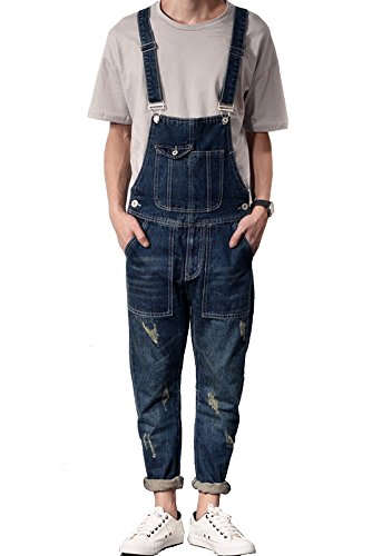 Denim Men's Casual Slim Denim Bib Pocket Vintage Jumpsuits Blue Size 32