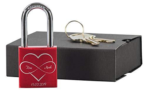 LAUBLUST Liebesschloss mit Gravur und Schlüssel inkl. Geschenkbox - Ewig im Herzen - Personalisiertes Geschenk Paare