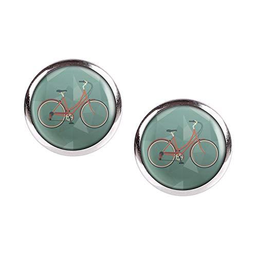 Mylery Ohrstecker Paar mit Motiv Damen-Rad City-Rad Stadt-Rad Rot silber 12mm