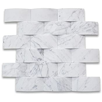Stone Center Online Carrara White Marble 3D Cambered 2x4 Subway Curved Arched Mosaic Tile Honed for Kitchen Backsplash Bathroom Flooring Shower Surround Dining Room Entryway Corrido Spa  1 Sheet