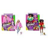 Barbie Muñeca Extra 3 con Un Mullido Abrigo De Peluche Rosa, Una Mascota Mezcla De Unicornio Y Cerdito + Muñeca Extra 2 con Un Look Brillante Y Cachorrito De Mascota, Color (Mattel Gvr04)