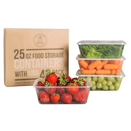 Healthy Packers Plastic Food Storage Containers with Lids 25 oz - Freezer Storage Containers with Lids - Freezer Safe, BPA Free, Reusable (Set of 40)