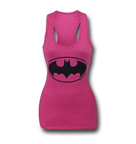 Batgirl Symbol Women's Pink Racer Back Tank Top- Slim Large