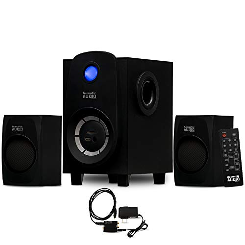 Acoustic Audio AA2107 Bluetooth Home 2.1 Speaker System with USB and Optical Input