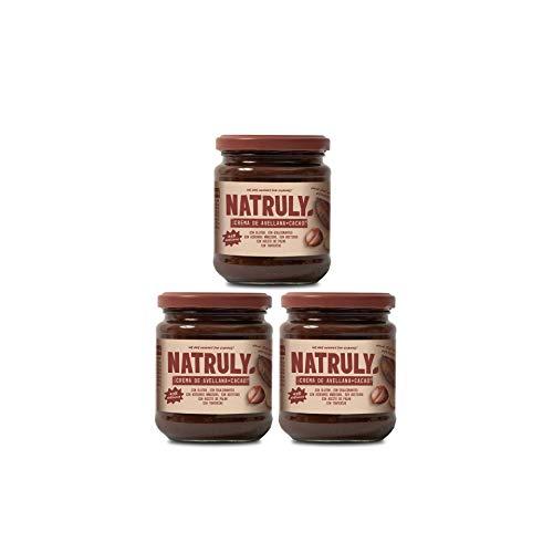 NATRULY Crema di Nocciole Senza Zucchero con Cacao e Dolcificanti, Addolcita con Fibra di Cicoria, Gusto Cioccolato al Latte -Pack 3x300g