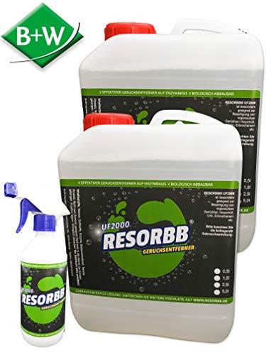 RESORBB® UF 2000 Geruchsentferner 2 x 2,5 l. + Leere Sprühflasche EIN geruchsneutraler, effizienter Geruchsentferner