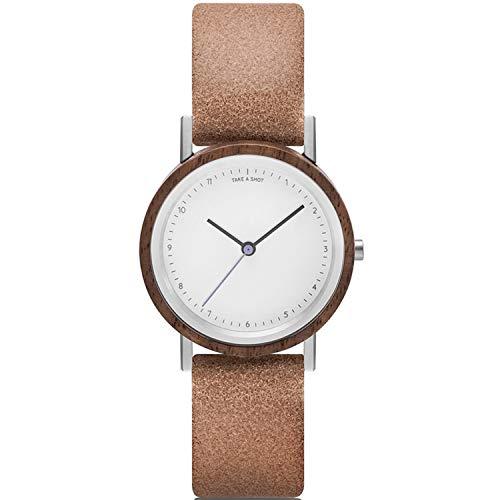 TAKE A SHOT Holzuhr - Kleine Holz Armbanduhr für Damen mit braunem Lederarmband, Analoge Quarz Damenuhr mit Gehäuse aus Holz, Durchmesser 30 mm - LIV Cinnamon