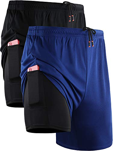 Neleus Men's 2 in 1 Running Shorts with Liner,Dry Fit Workout Shorts with Pockets,6070,2 Pack,Black/Blue,US L,EU XL