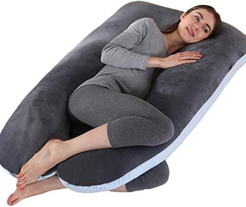 Schwangerschaftskissen, U-förmiges Seitenschläferkissen, Full Body Pillow mit Ersetzbaren & Waschbaren Außenbezügen, 70x130cm (Dunkelgrau blau)