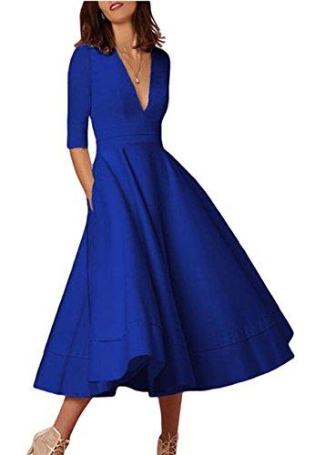 OMZIN Damen Abendkleid V Ausschnitt Elegantes Partykleid 1/2 Arm Wadenlanges Kleid Blau M