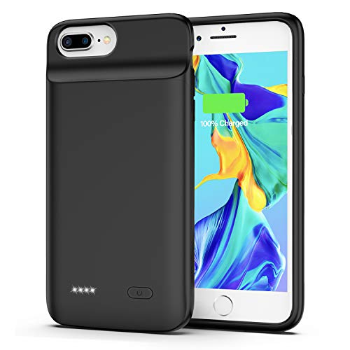 Battery Case for iPhone 7 Plus/8 Plus, 5000mAh Extended Rechargeable Charger Case, Slim Portable Protective Charging Case for iPhone 7 Plus/8 Plus (5.5 inch) - Black (Black)