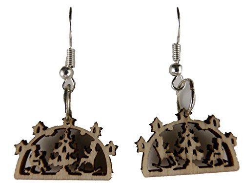 Weihnachtschmuck Ohrringe Weihnachten Hänger Heilig Abend Schwippbogen mit Kerzen Tannenbaum Tanne Baum 6787