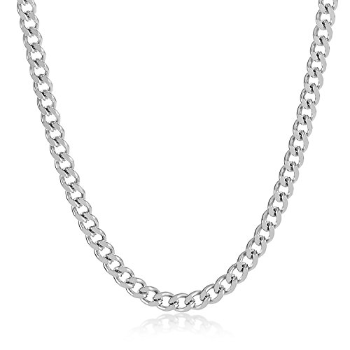 The Bling Factory 3mm High-Polished Stainless Steel Flat Cuban Link Curb Chain Necklace, 30 inches