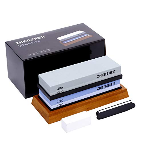 Knife sharpening stone, 400/1000.2000/5000 Double Side Grit Waterstone,...