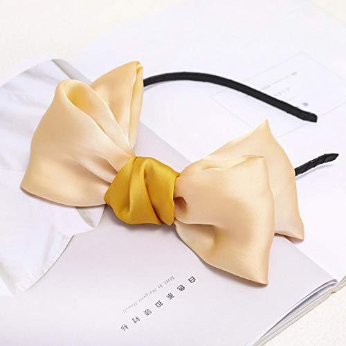 Empty Frais Doux et Mignon Sauvage Couleur Unie Big Bowknot Mignon Bandeau Femmes Mode Cheveux Accessoires-Beige